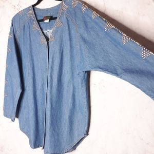Pinky West Denim Batwing Jacket Silver Studs Large